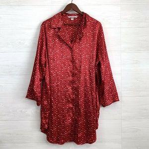 Cacique 18 20 Satin Feel Red Heart Print PJ Dress